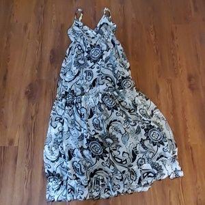 Black off white summer dress